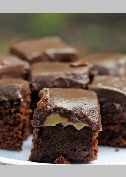 Chocolate Caramel Brownies Recipe - Foodomania - Step by step recipe - Eggless Brownies