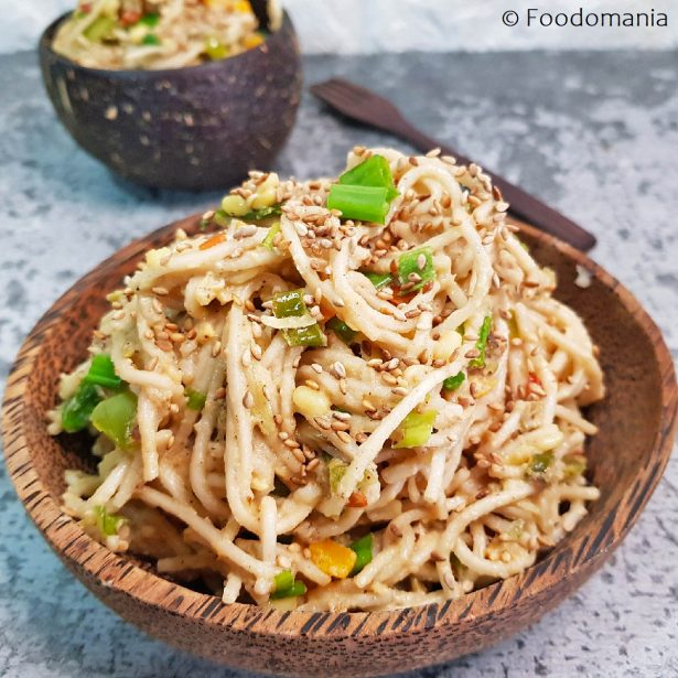 Sesame Chili Noodles Recipe by Foodomania | Spicy Stir-Fried Soba Noodles | Saucy Tahini Noodles Recipe
